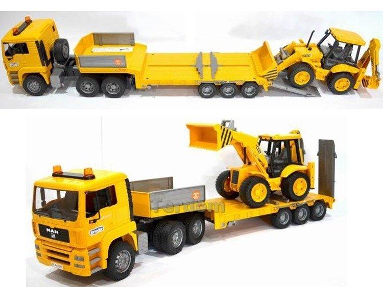 BRUDER 02776 Man z koparką 02428 ciężarówka LAWETA