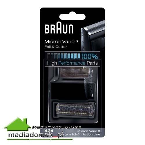Braun Folia + Nóż 424 Micron Vario 3, System 1-2-3, Action Line WROCŁAW