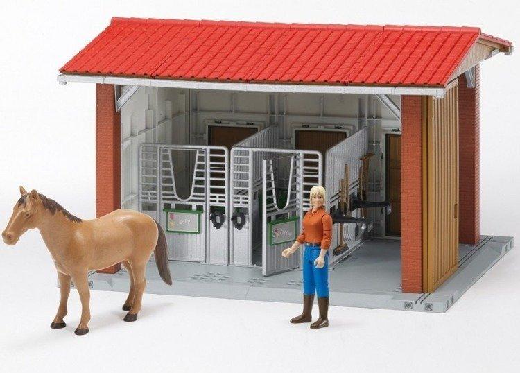 Bruder 62520 Stadnina stajnia koń kobieta Figurki