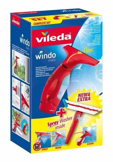 Elektryczna ściągaczka do okien Vileda Windomatic + myjka ze spryskiwaczem
